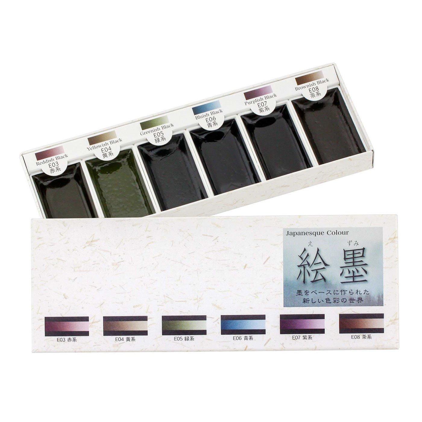奈良の老舗・墨運堂 彩りのある水墨画が描ける 絵墨セット6色