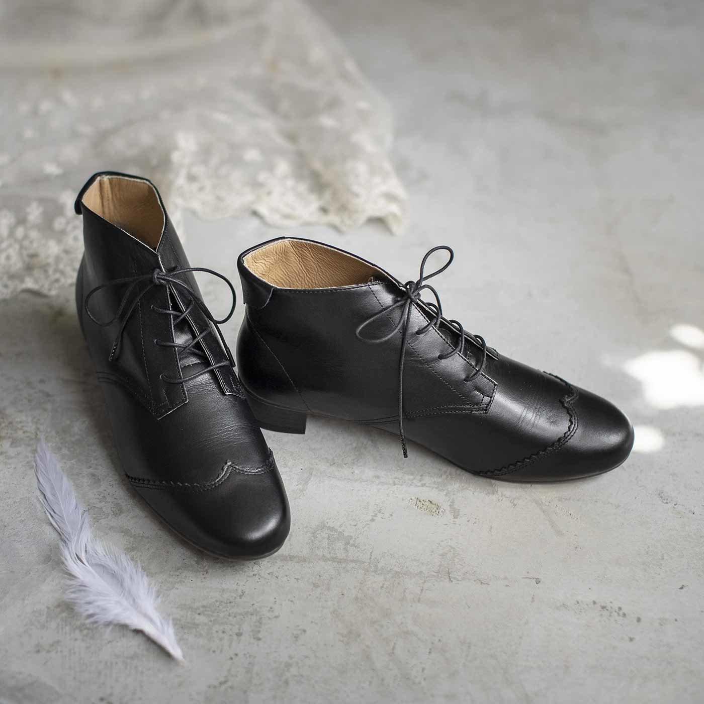 長田靴職人の本革仕立て 華麗なスワンブーツ〈クラシックブラック〉[本革 ブーツ:日本製]