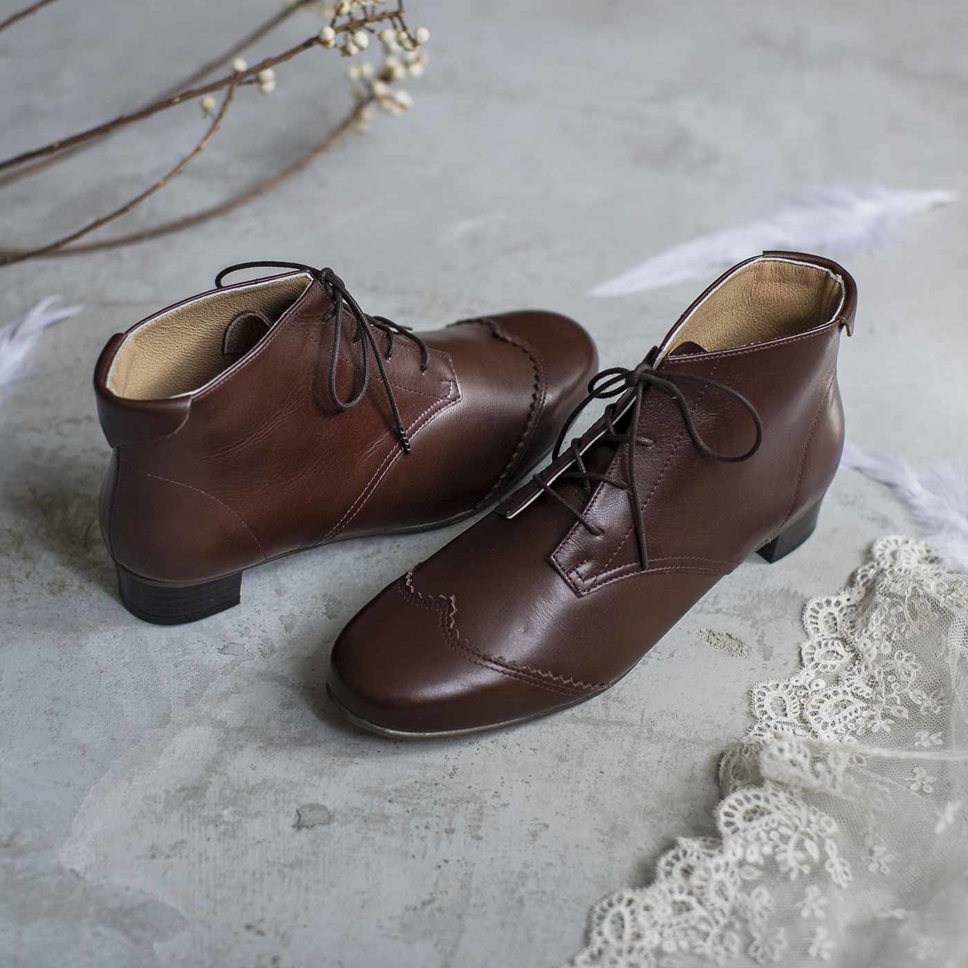 長田靴職人の本革仕立て 華麗なスワンブーツ〈ブラウン〉[本革 ブーツ:日本製]