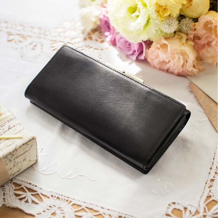 職人が誂えた上質本革がま口付き長財布〈ノアール〉[本革 財布:日本製]