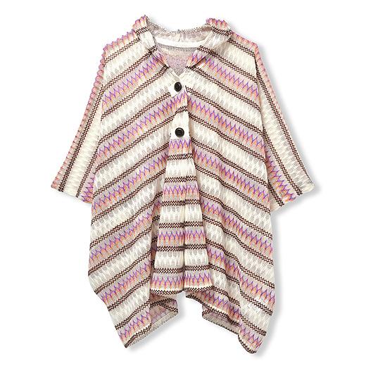 エスニック調の編み柄がおしゃれ。繊細な透かし編みで涼しげで軽やかな印象に。