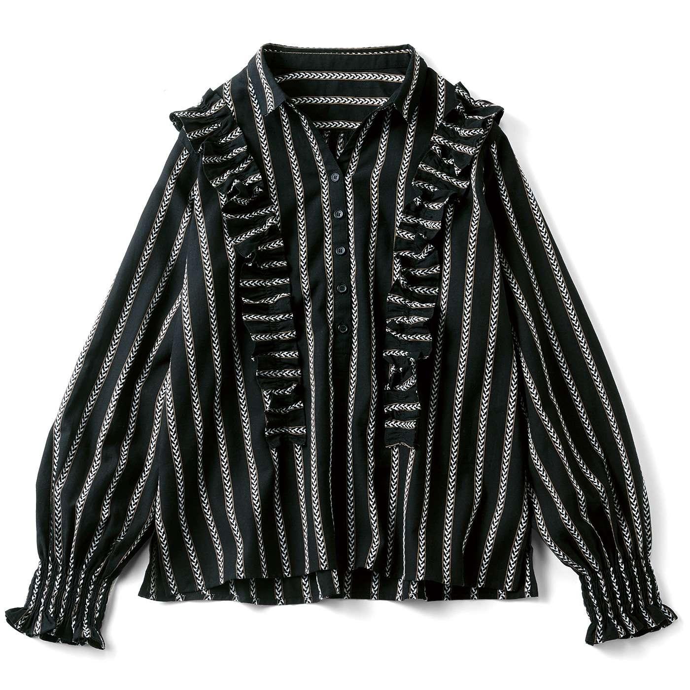 フェリシモ リブ イン コンフォート 先染め織り柄の華やかプルオーバーブラウス〈ブラックストライプ〉