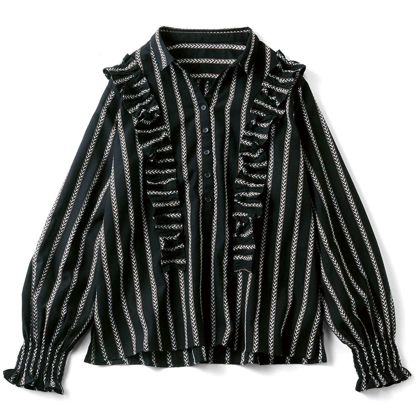 リブ イン コンフォート 先染め織り柄の華やかプルオーバーブラウス〈ブラックストライプ〉