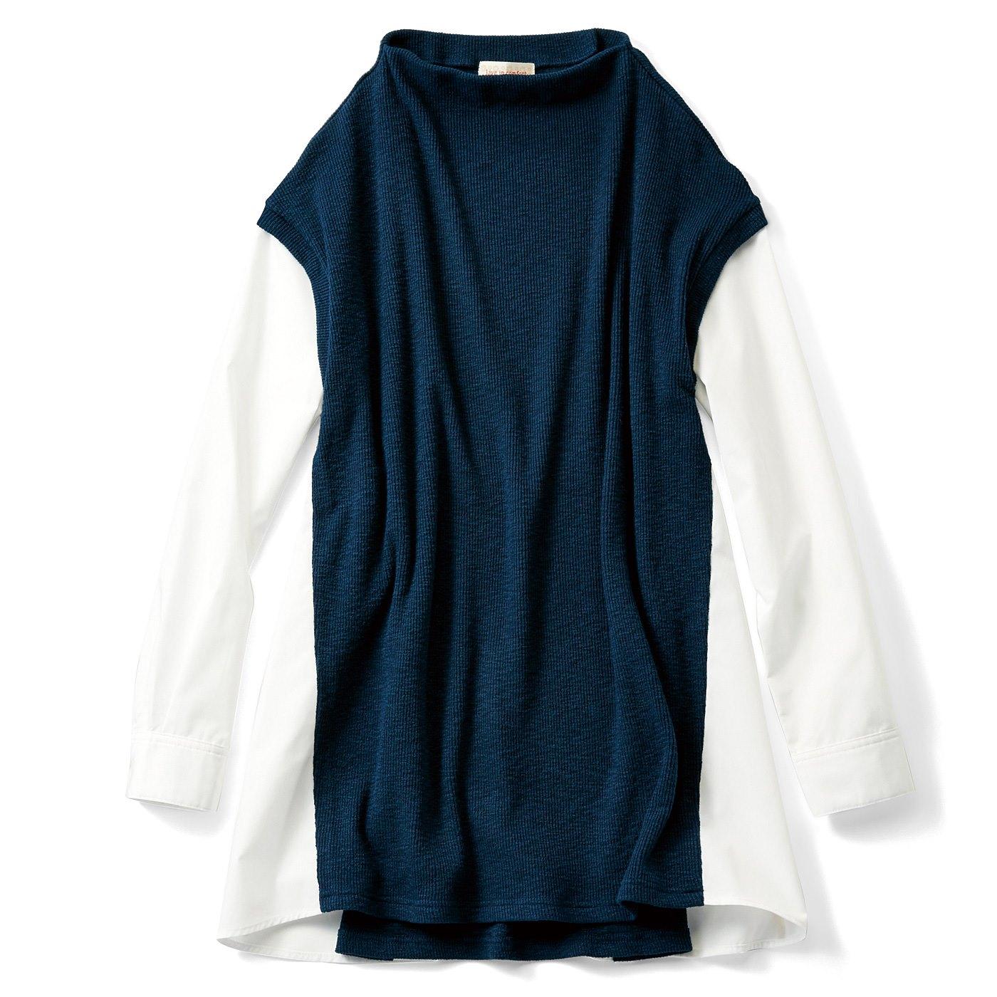 リブ イン コンフォート きちんと大人感 ニット見え素材とシャツの重ね着風ドッキングチュニック〈ダークブルーグリーン〉