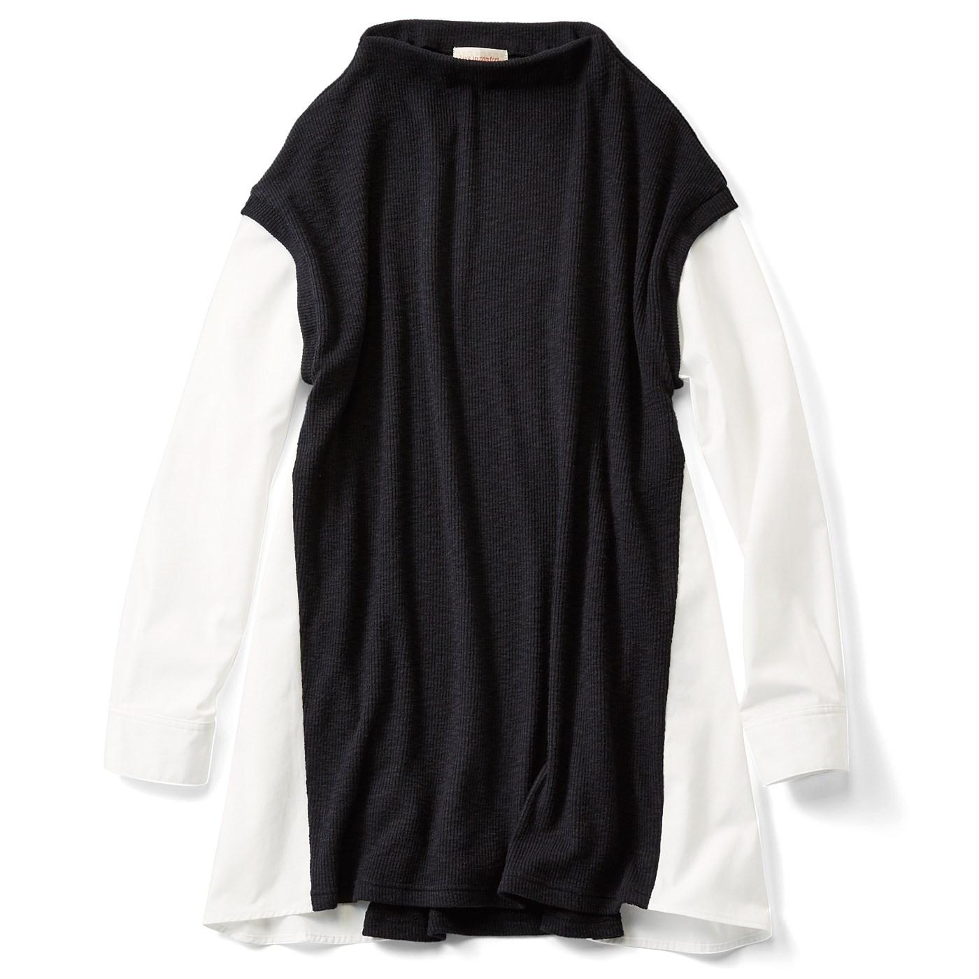 リブ イン コンフォート きちんと大人感 ニット見え素材とシャツの重ね着風ドッキングチュニック〈ブラック〉
