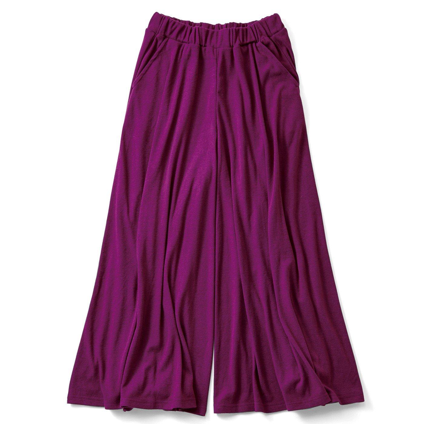 リブ イン コンフォート スカート気分の微起毛やわらかカットソーガウチョ〈ピンクパープル〉