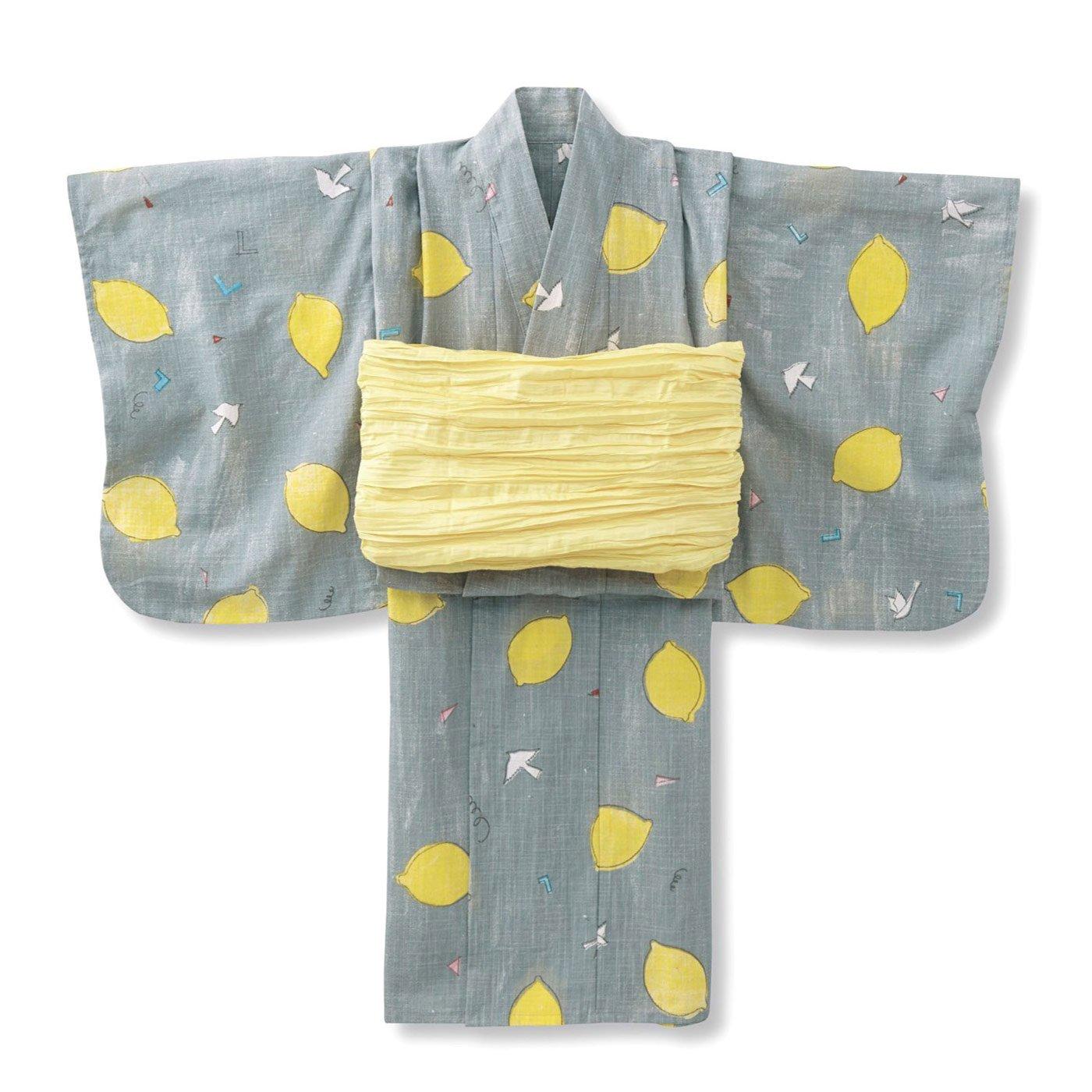 【3~10日でお届け】京都Subikiawa食器店さんとつくった レトロなレモン柄の浴衣(ゆかた)