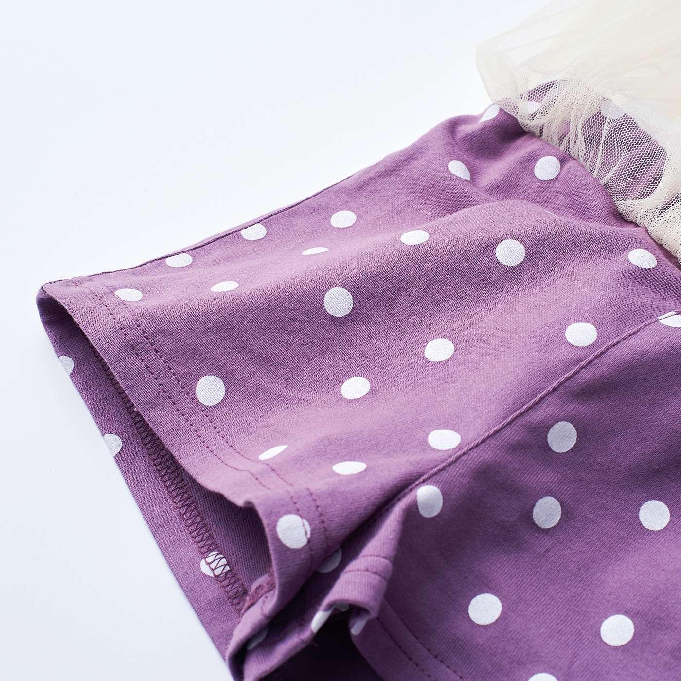 キュロット部分は肌ざわりのよい綿100%のカットソー素材。