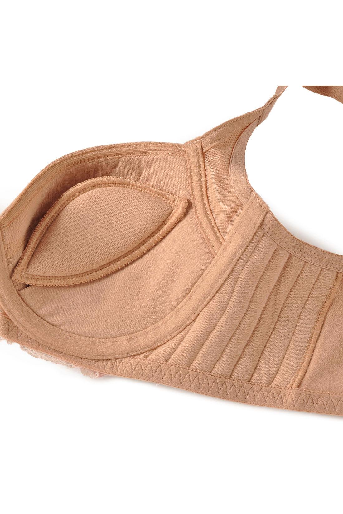「二の胸ガードパネル」がしっかりと寄せて、はみ出しをガード! たくさんのステッチが入ったサイドパネルで、わきや背中へのお肉流れをガード。