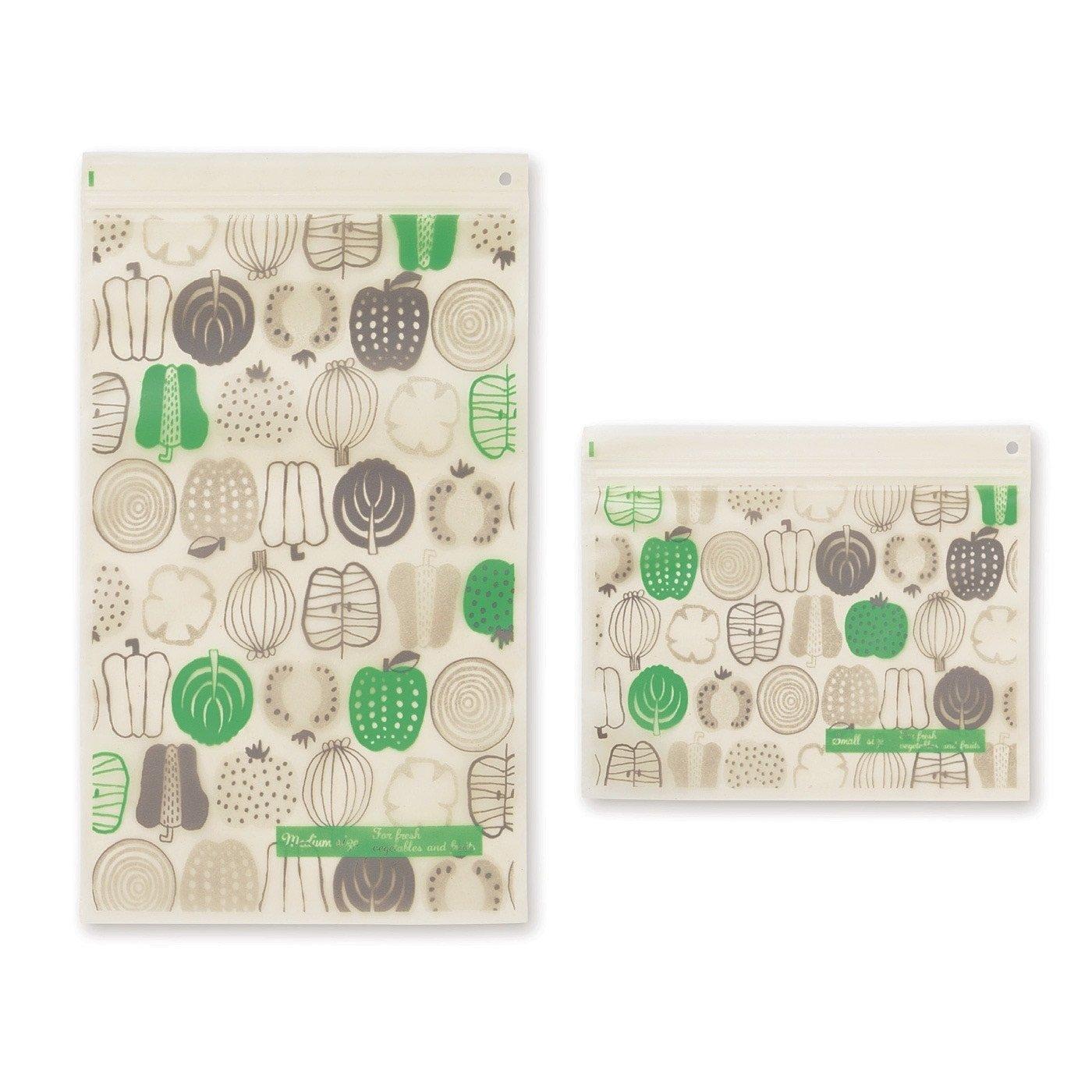 米ぬかでシャキッ! 抗菌・鮮度保持ジップバッグ〈S・Mサイズ〉