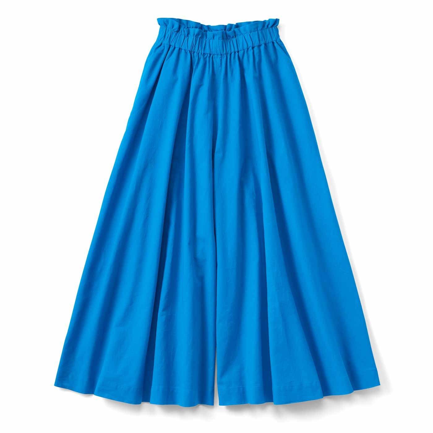 【3~10日でお届け】スカートみたいな コットンリネンのボリュームガウチョパンツ〈ブルー〉