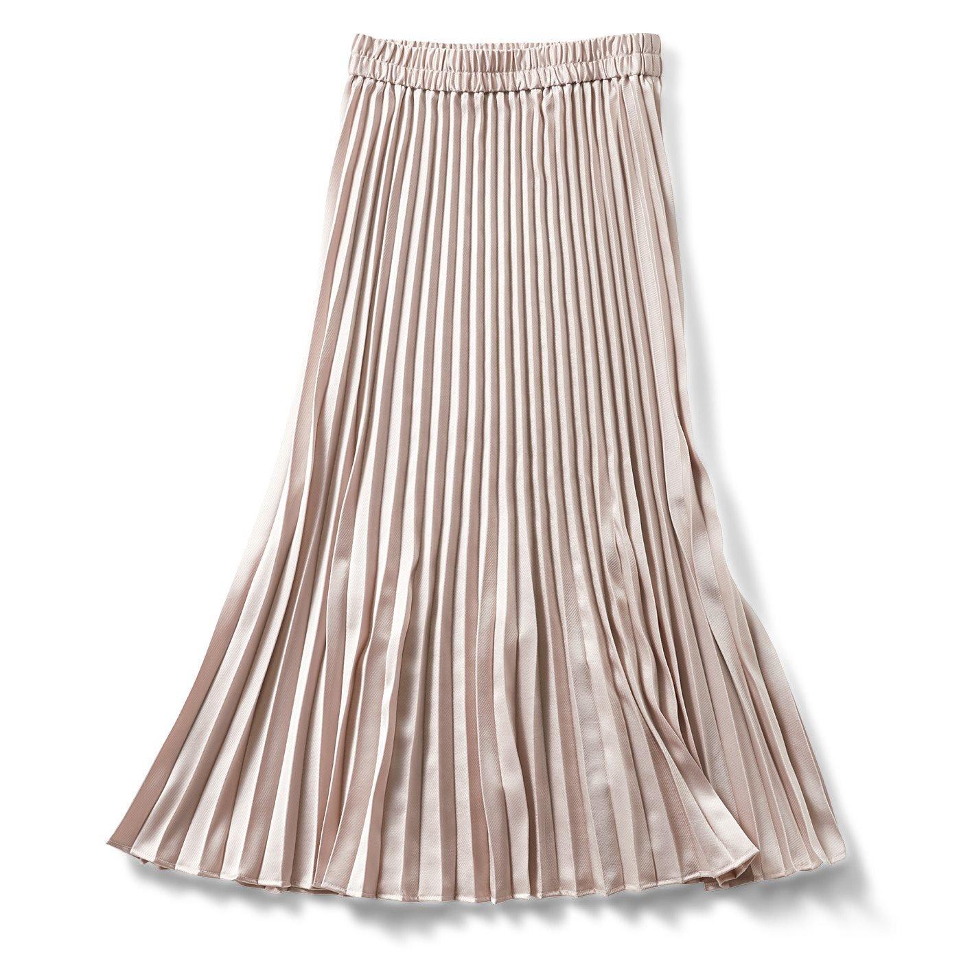 IEDIT[イディット] 斜めストライプ織り柄サテンのプリーツロングスカート〈アイボリーベージュ〉