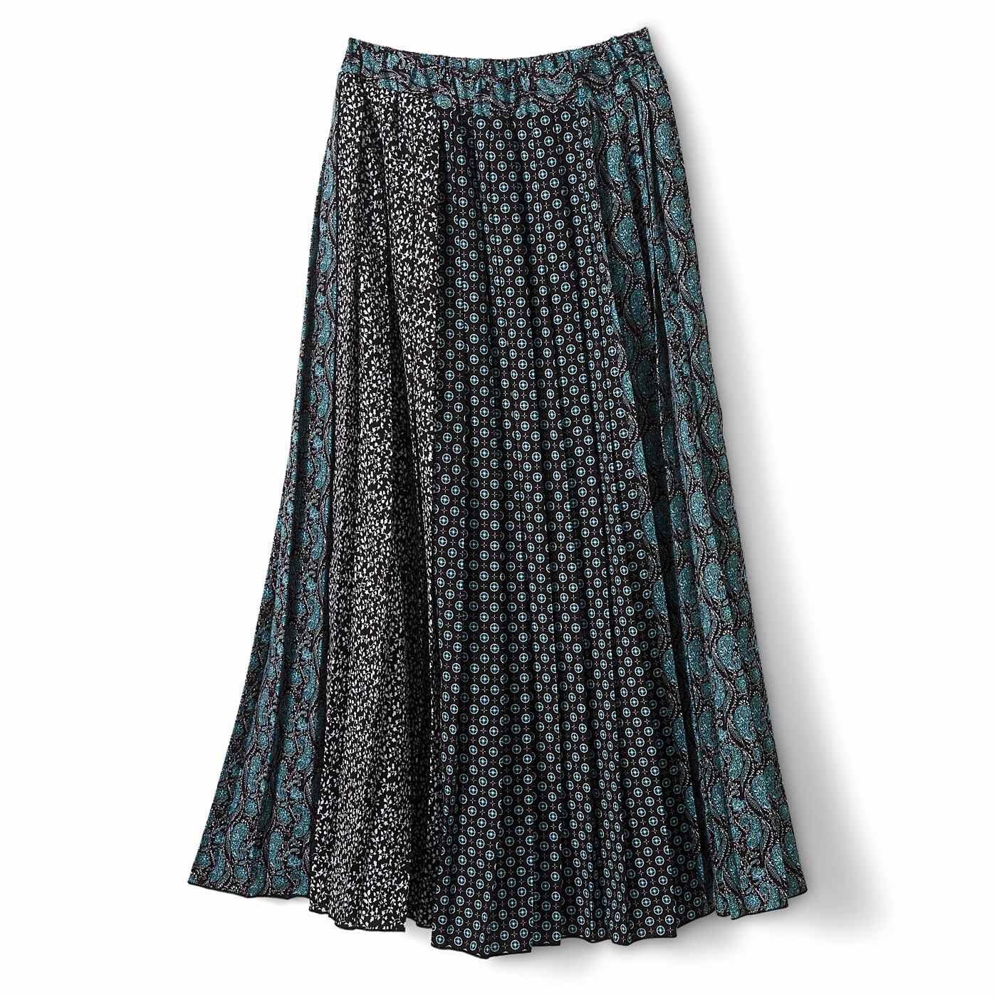 IEDIT[イディット] オリジナルプリントを組み合わせた ドラマチックなパネル柄 ロングプリーツスカート〈ブラック〉