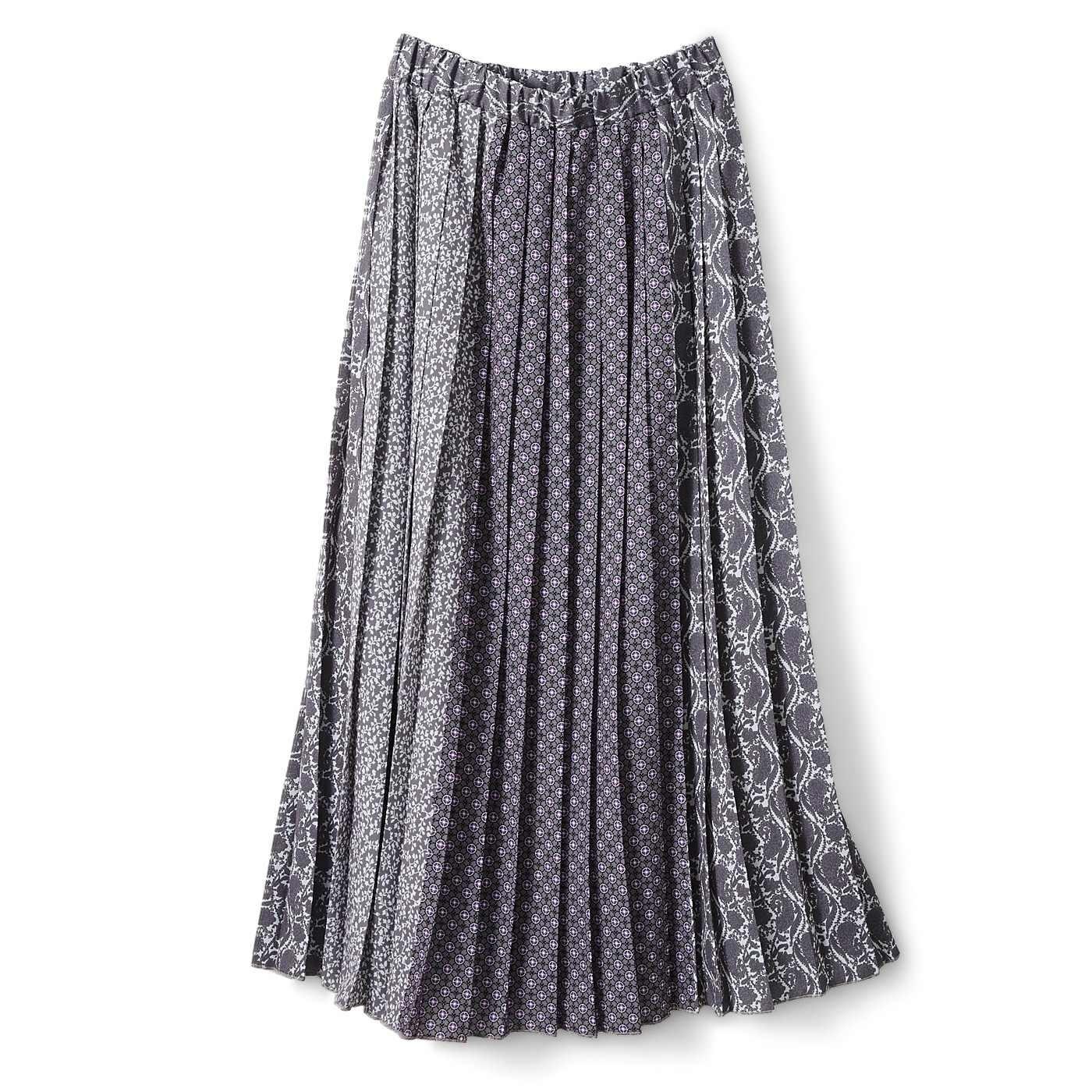 IEDIT[イディット] オリジナルプリントを組み合わせた ドラマチックなパネル柄 ロングプリーツスカート〈グレー〉