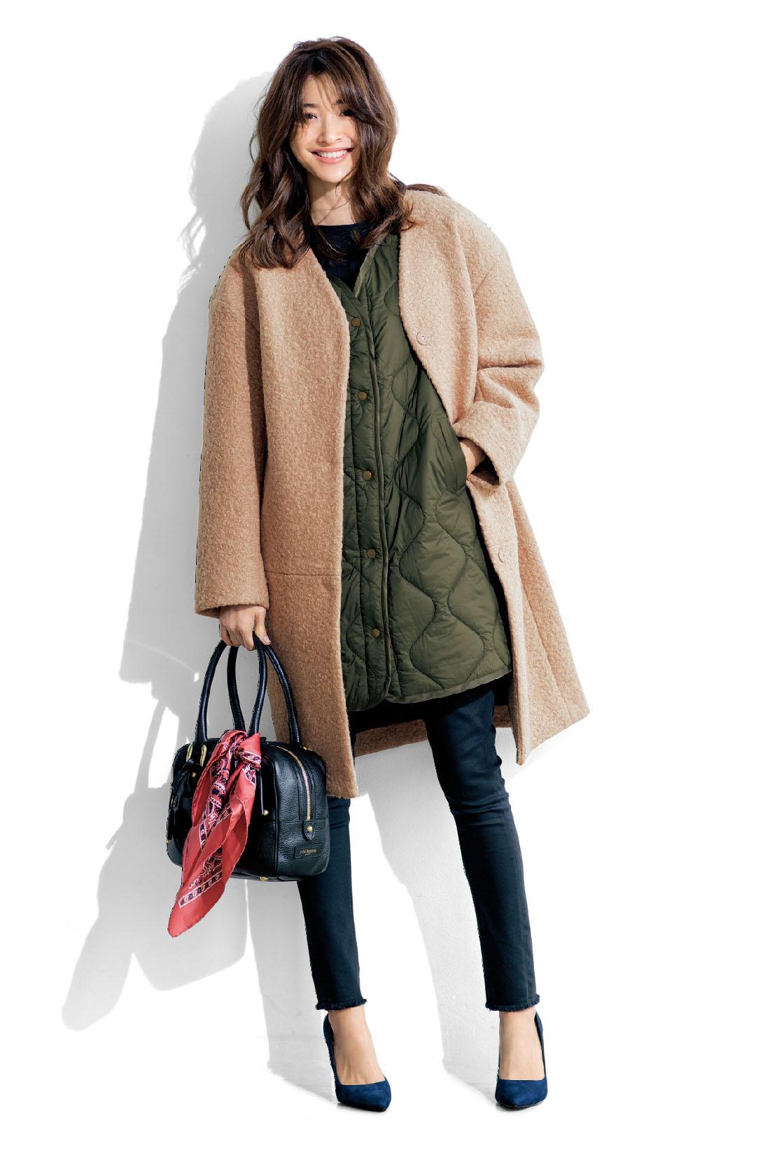 Winter 防寒性が気になるおしゃれコートのライナーとして活躍。重ね着のポイントになる色やステッチなど、見えてもかわいいデザインが◎。