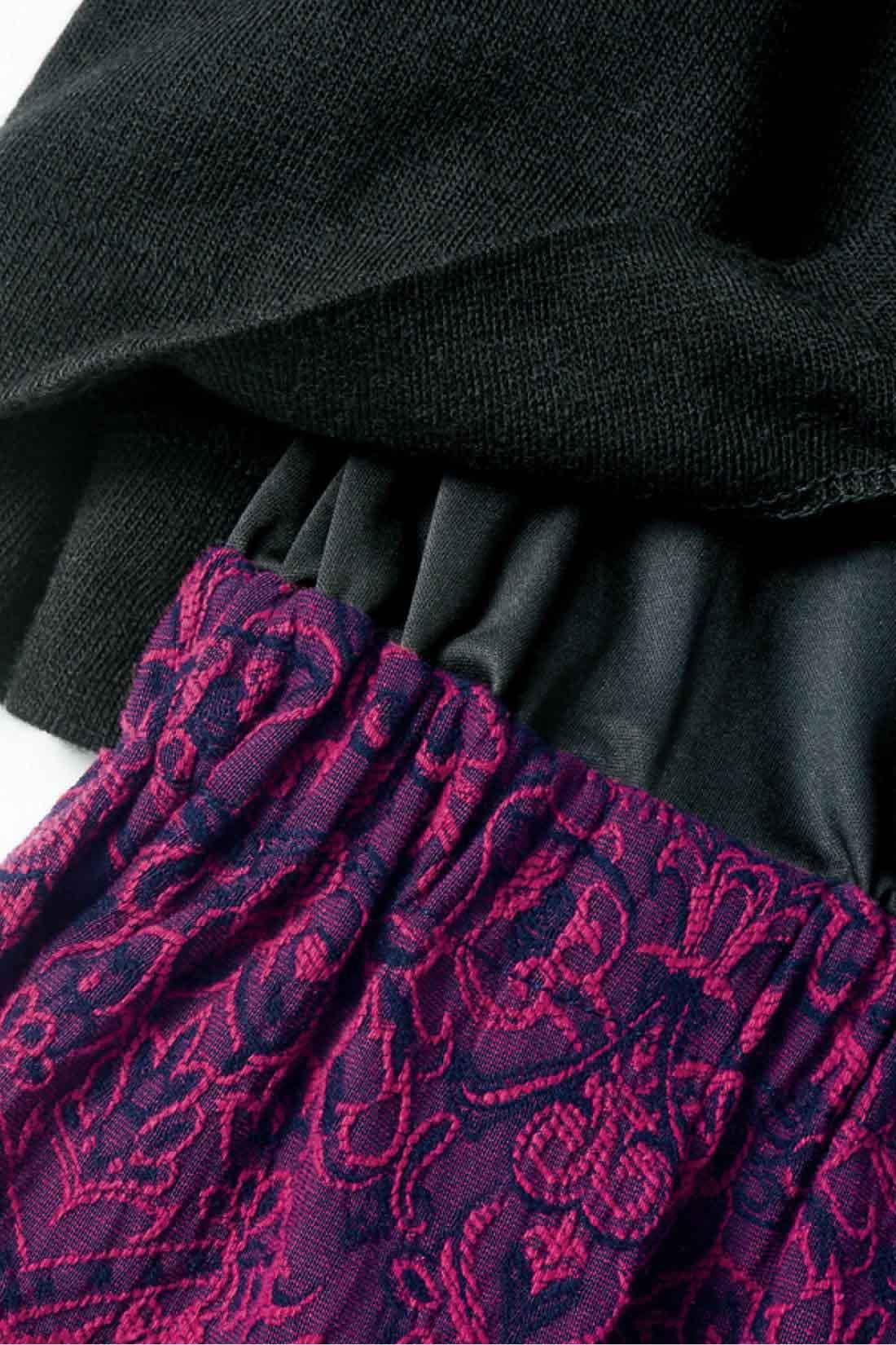 ドッキング部分は、トップスとスカートが重なる自然な仕上がり。ウエストはゴム入りでらくちん。