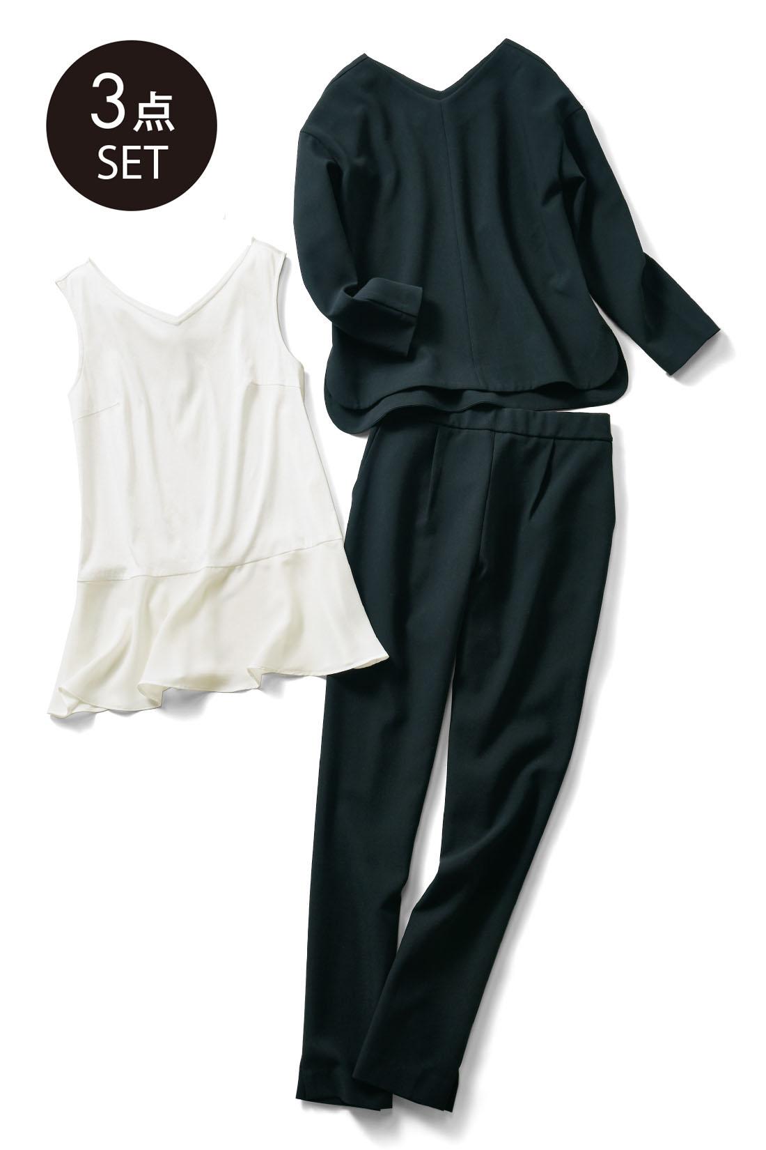 Set up で! 届いたままを着るだけでOKのベストバランス。合わせるアイテムで雰囲気を変えて幅広く着こなして。