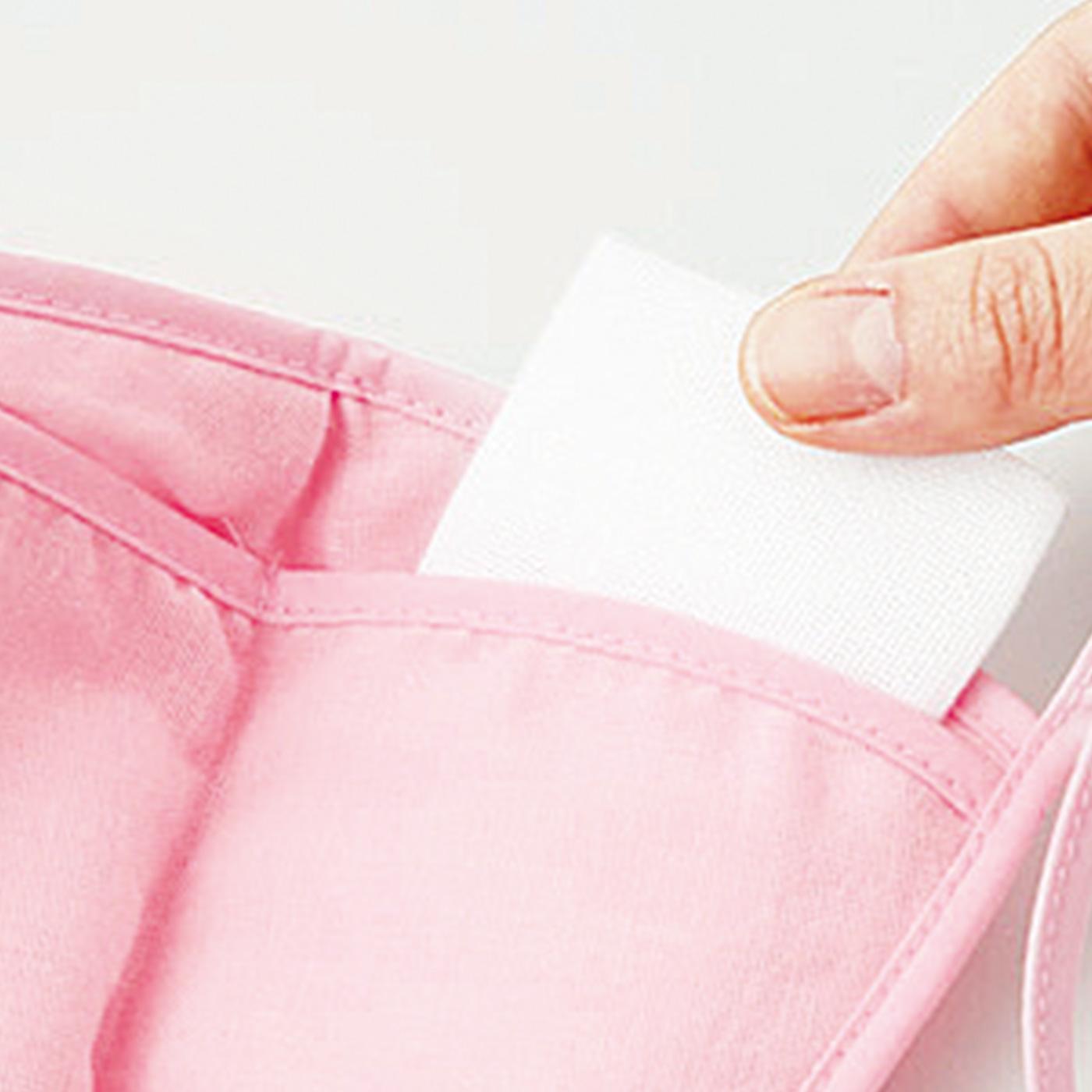 内側ポケットに手持ちのガーゼをぬらして入れるだけ。