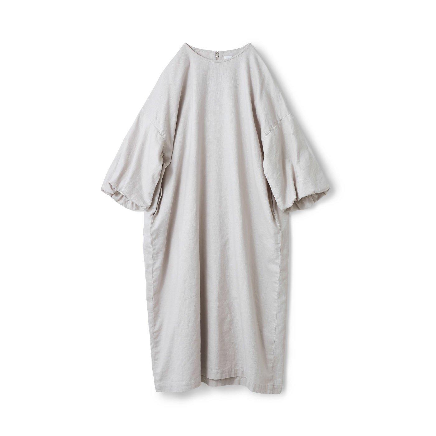 アヴェクモワ 風船袖のサックドレス〈グレー〉