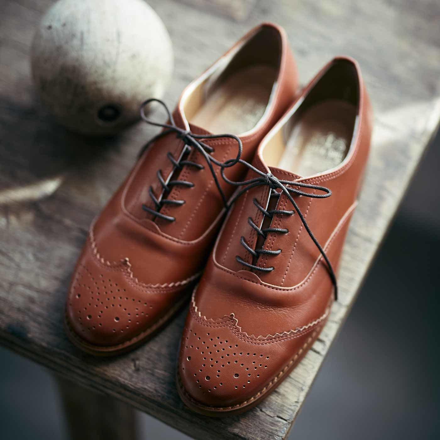 長田靴職人が叶えた 本革ハーフウィングチップ〈マロン〉[本革 靴:日本製]