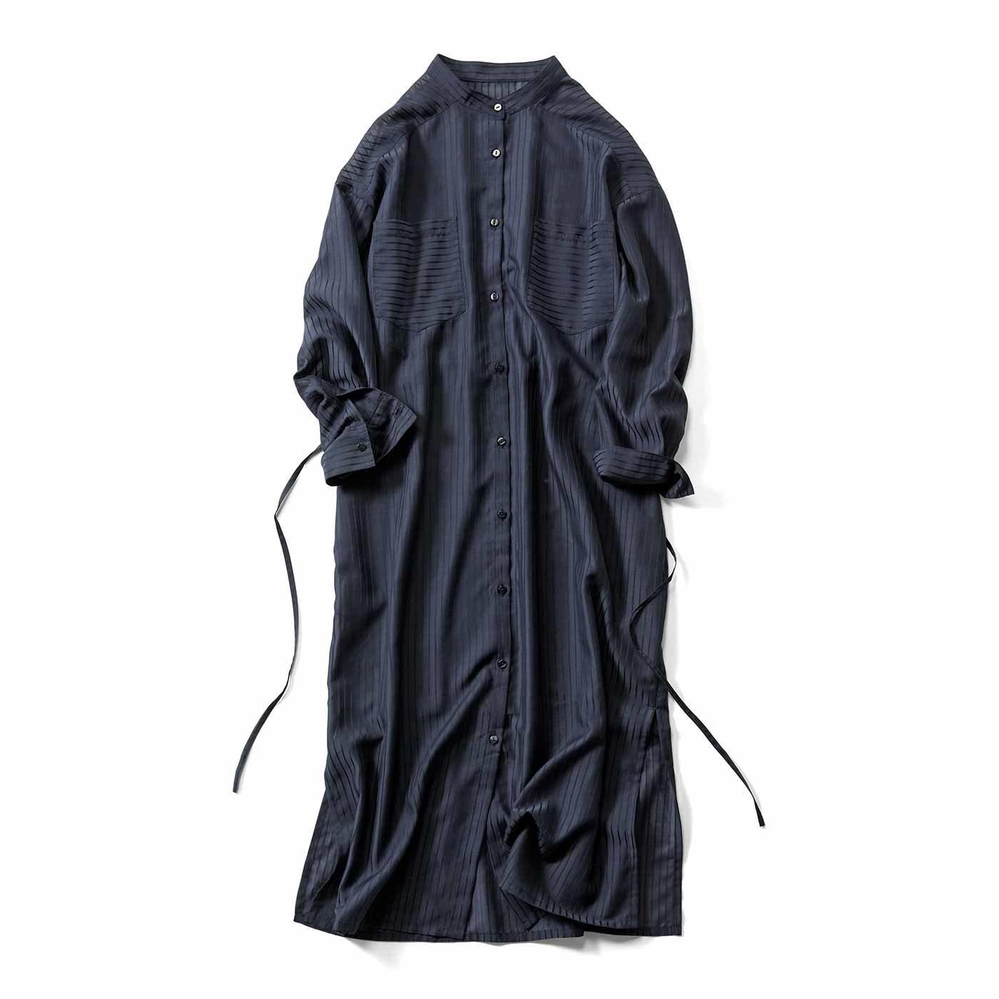 IEDIT[イディット] シアー素材のストライプロングシャツドレス〈ネイビー〉