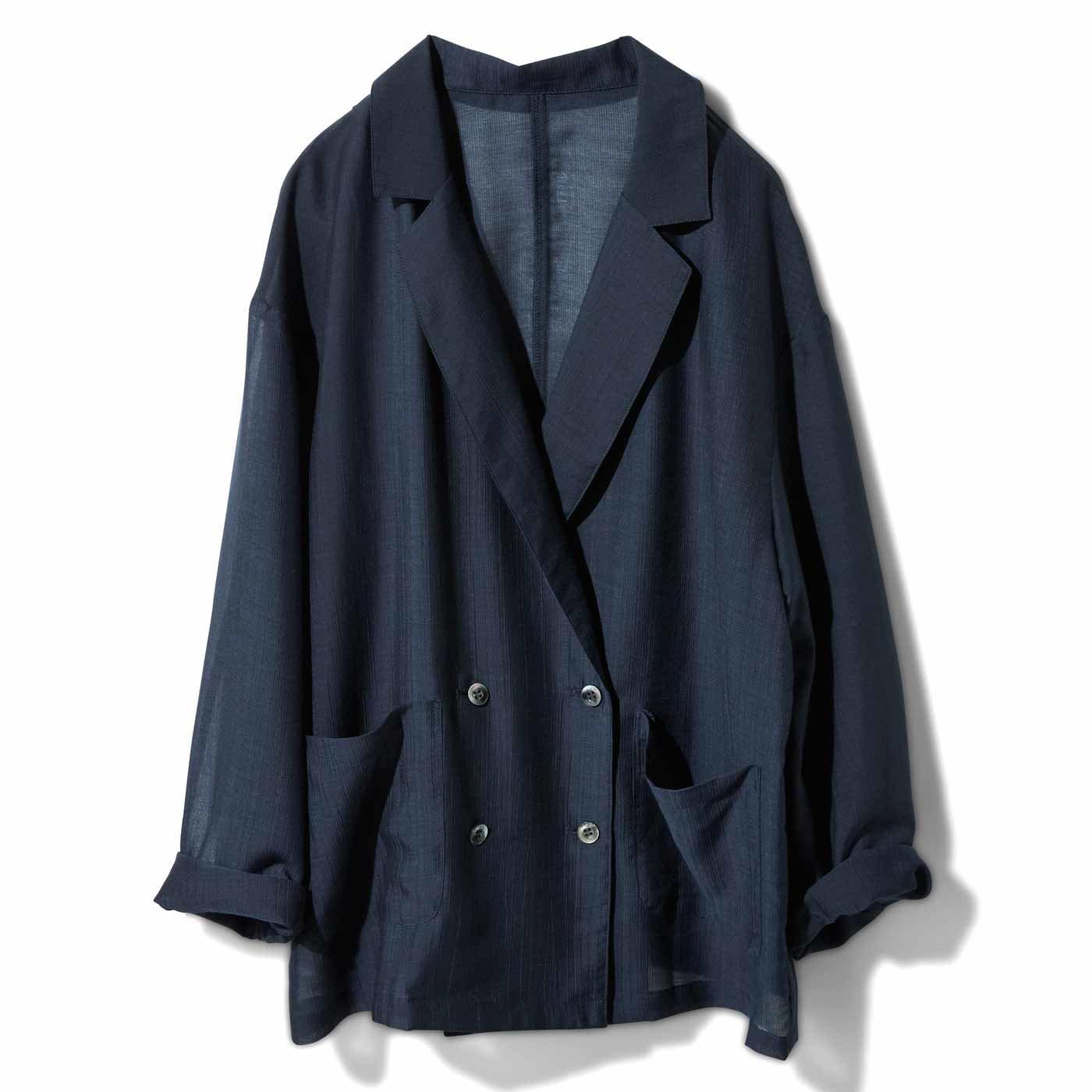 IEDIT[イディット] 軽やかシアーシャツジャケット〈ネイビー〉