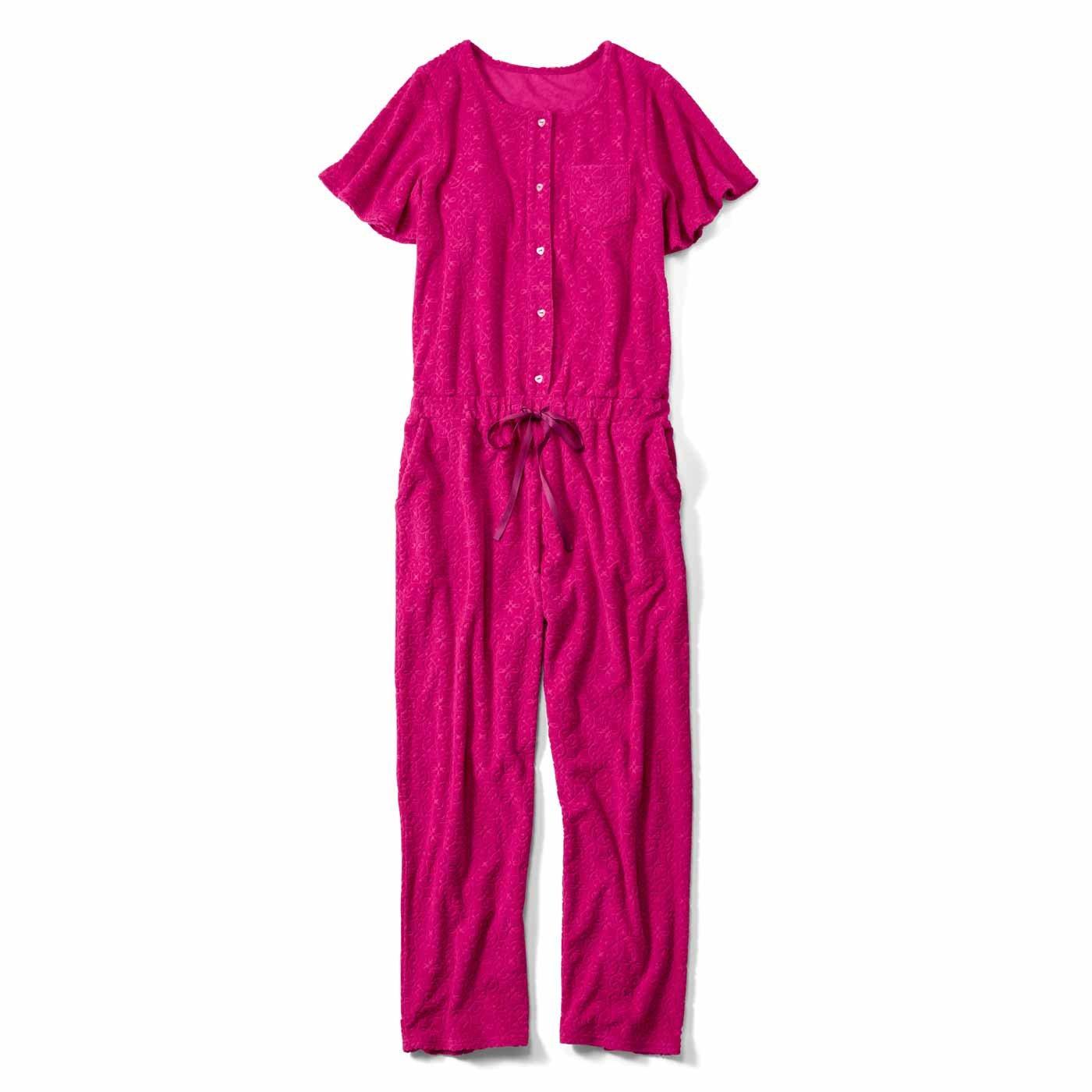 リブ イン コンフォート 究極のリラックススタイル♪ パイル素材のカップ付きオールインワン〈ピンク〉