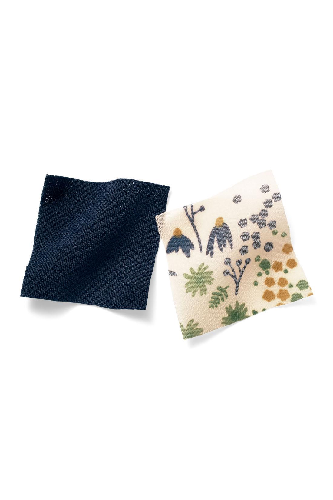 デイリーにもフォーマルにもうれしいPOINT 袖口からちらりと見える花柄シフォンがさりげないポイント。わきが見えない工夫も。