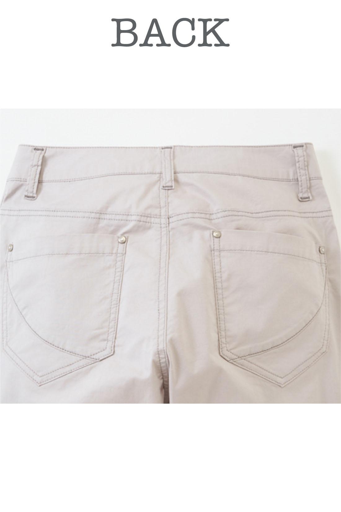 ヨーク切り替えや、ポケットのステッチで、小尻見えも抜群。 ※お届けするカラーとは異なります。
