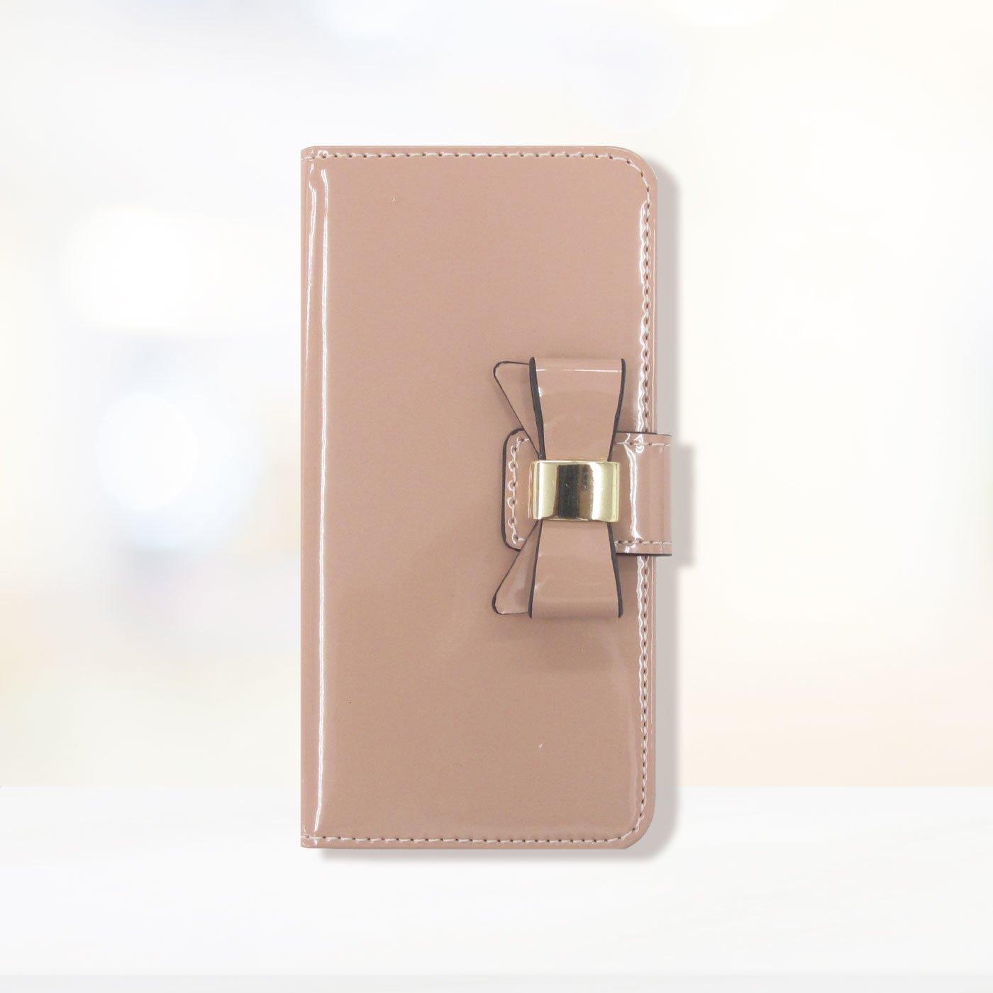 iphone6s/6/7/8 手帳型スマホカバー エナメルリボン