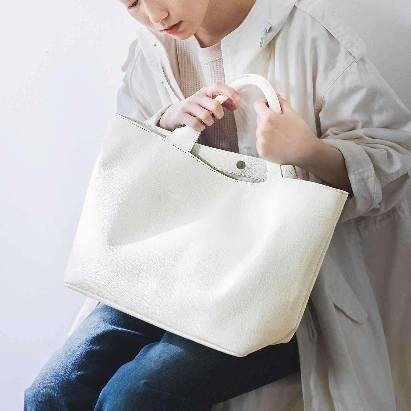 ファッションスタイリストと作った 職人本革のフィアブルトート 〈ブラン・ネージュ〉[本革 鞄:日本製]