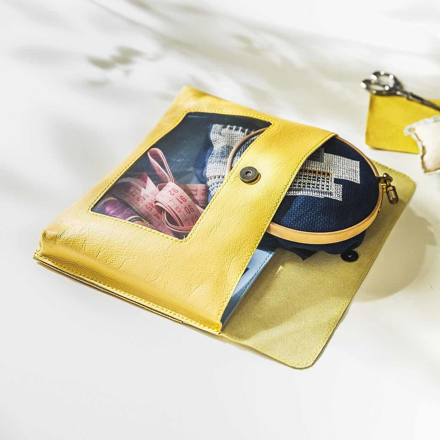 手芸プランナーと作った 職人本革のプロジェクトバッグ〈シトロン〉[本革 ポーチ:日本製]