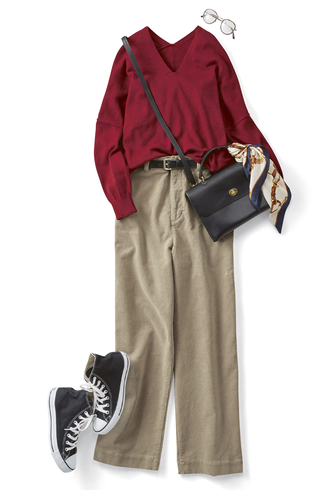 秋いちばんに着たいのはニット×コーデュロイで魅せる知的なワンツーコーデ