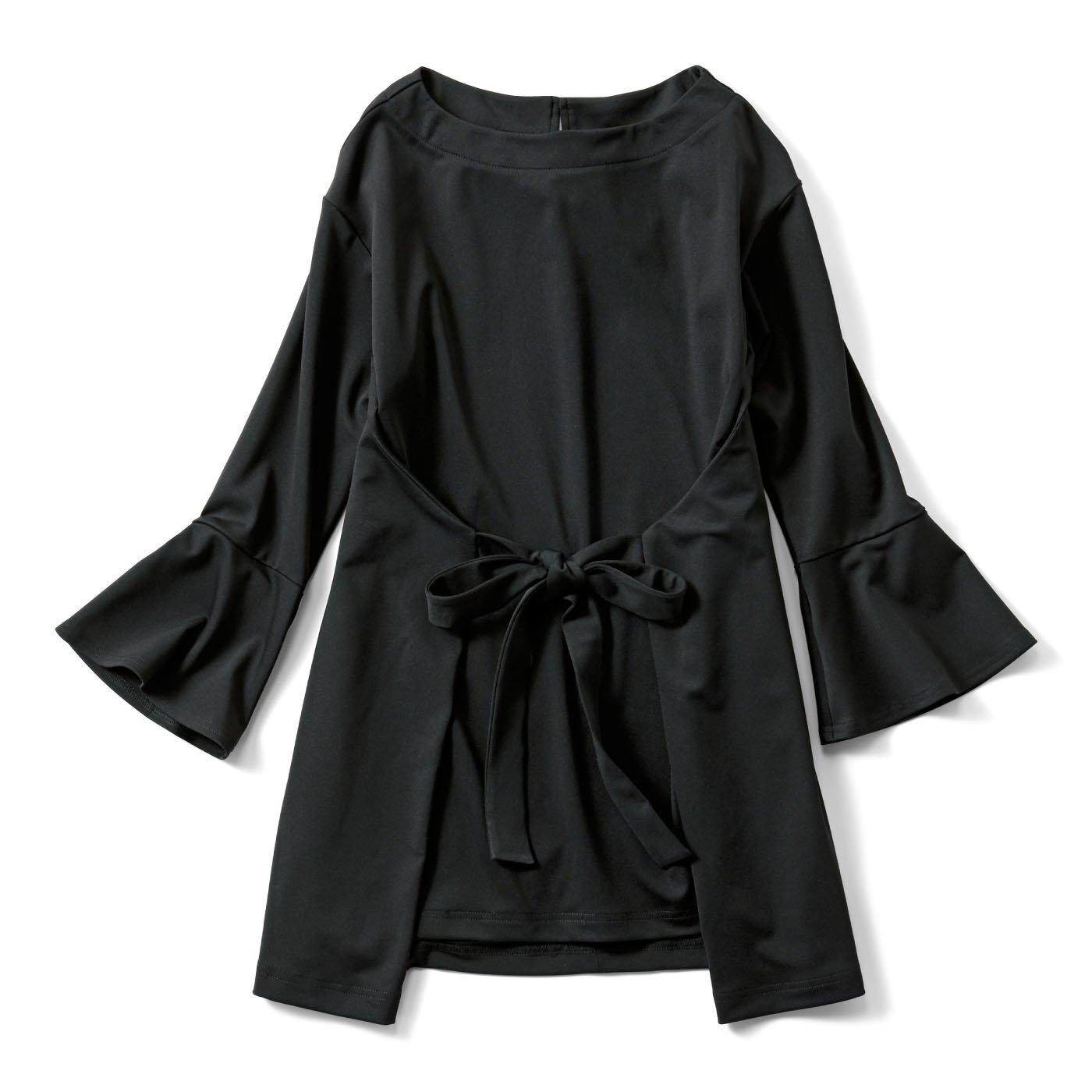IEDIT ウエストリボンで表情が変わる Tシャツ心地な 華やかカットソーロングトップス〈ブラック〉