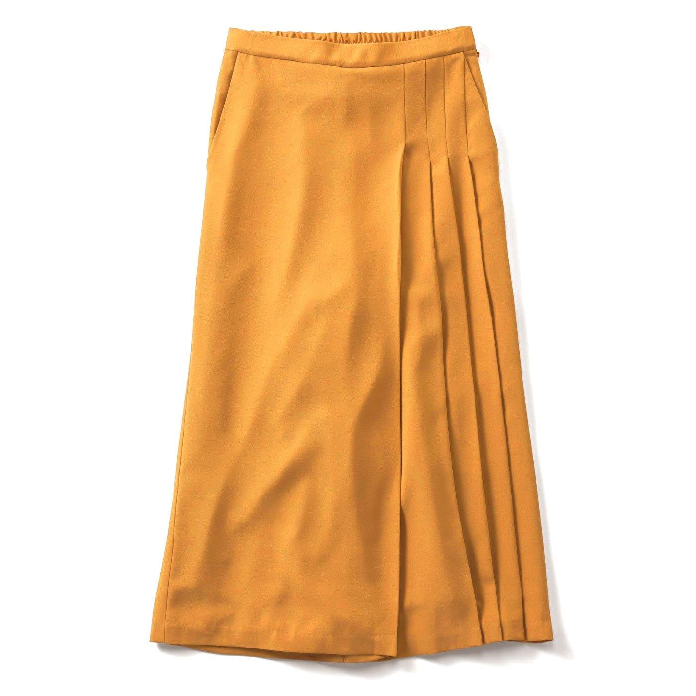 IEDIT 華やぎカラーの部分プリーツデザインスカーチョ〈サフランイエロー〉