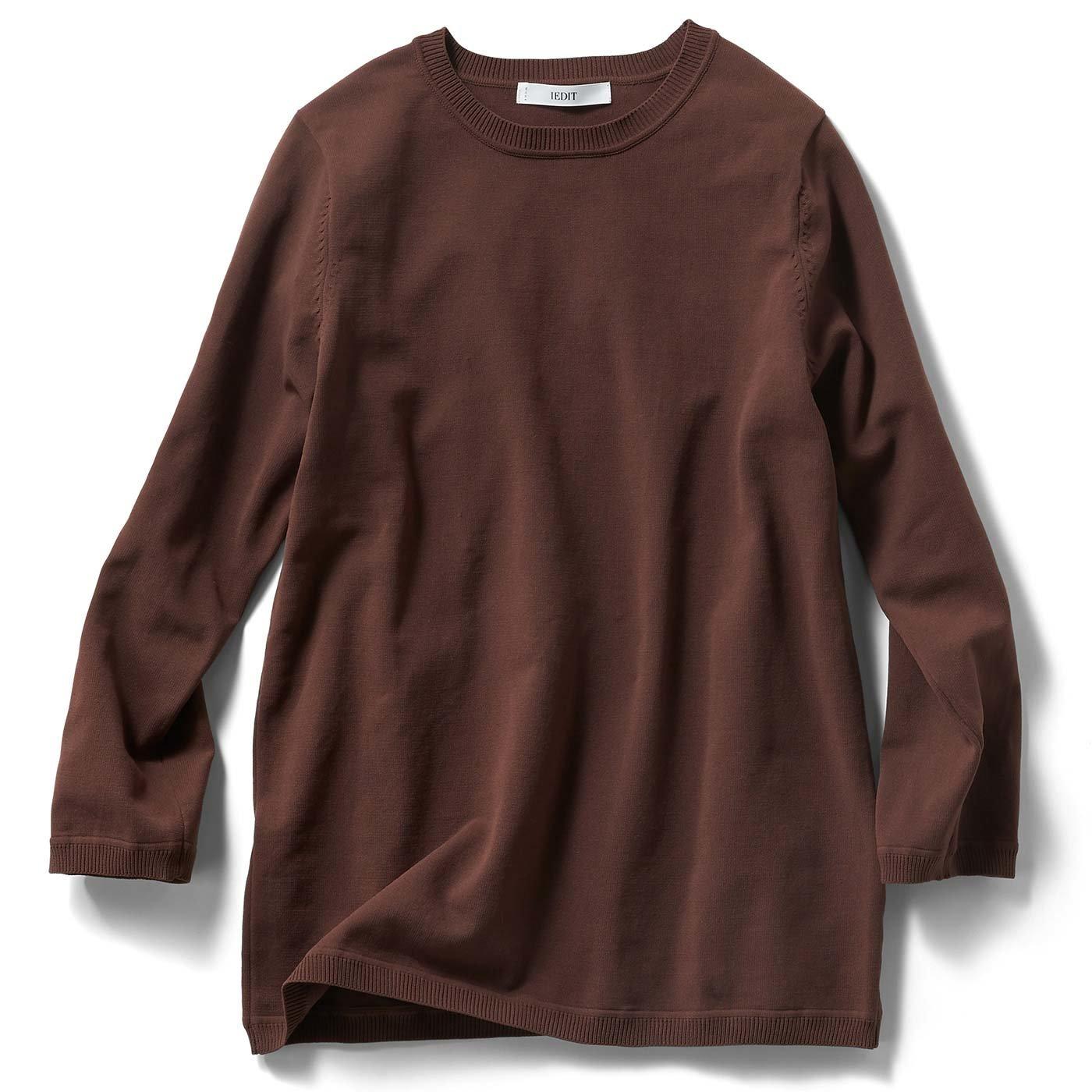 IEDIT ナイロン素材のTシャツ感覚バウンドニット〈ブラウン〉