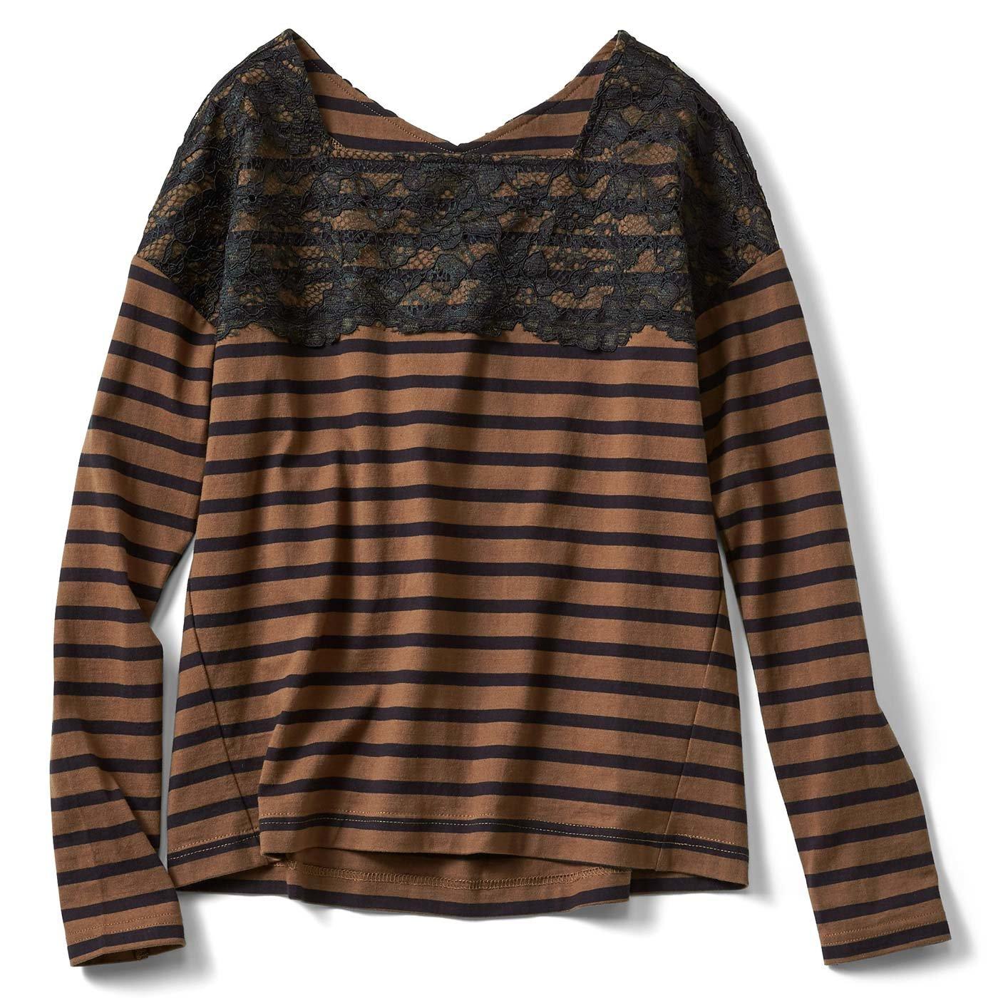 IEDIT フェミニンカジュアルを楽しむ コットン100%ボーダーレースTシャツ〈キャメル×黒ボーダー〉
