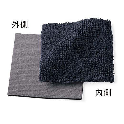 外側はウェットスーツにも使われる厚手の素材、内側はタオル地の二重仕立て。