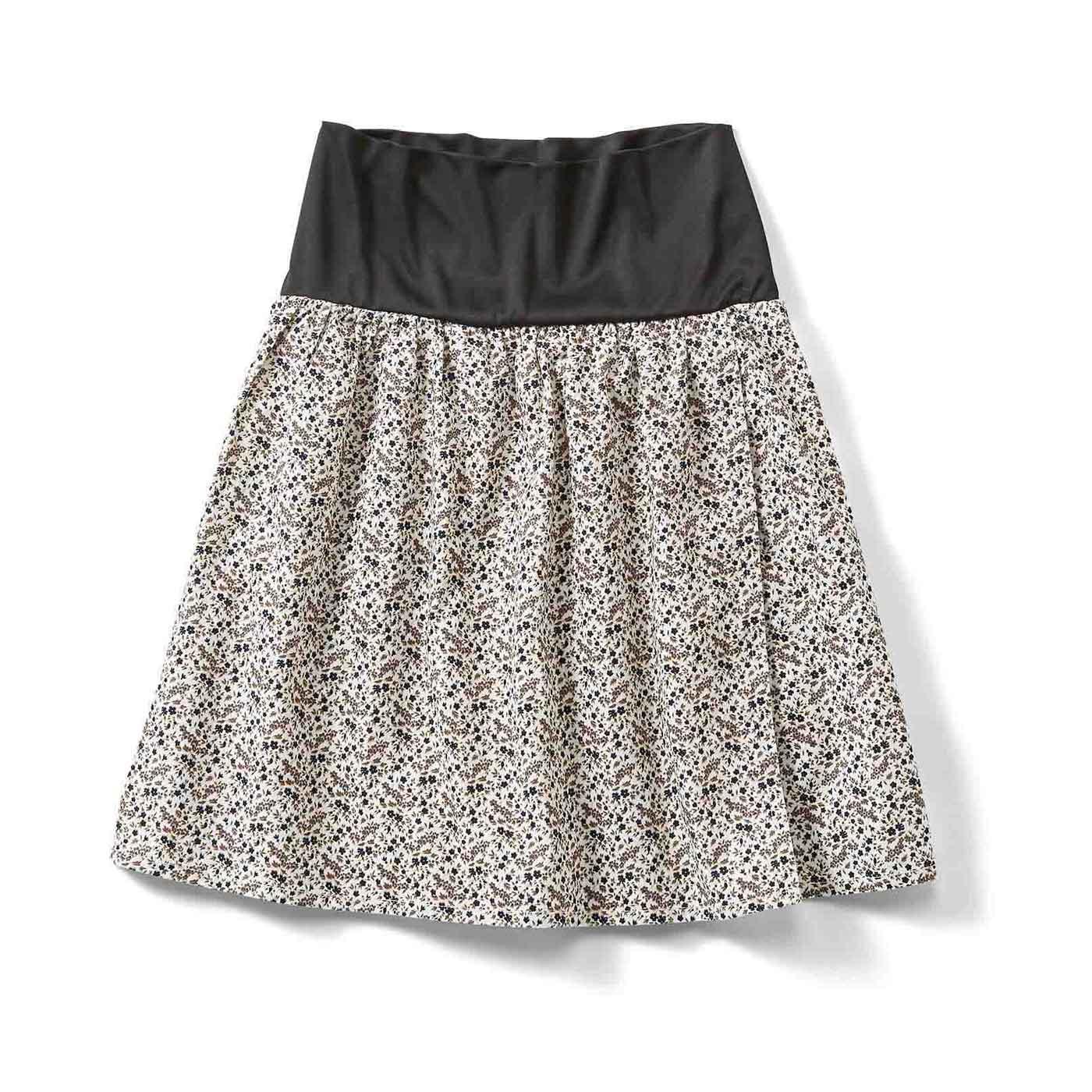 フェリシモ おなかフィッター内蔵 花柄ラップスカート〈15〉