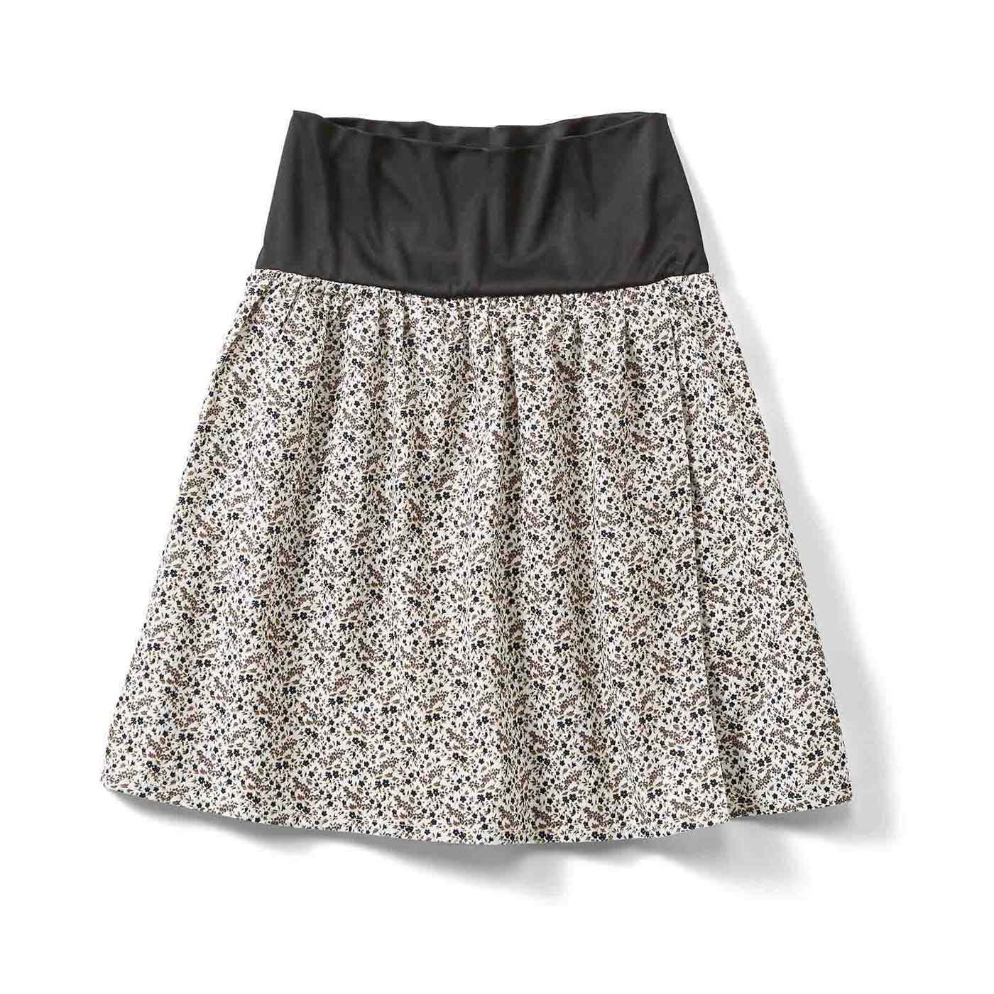 おなかフィッター内蔵 花柄ラップスカート〈15〉
