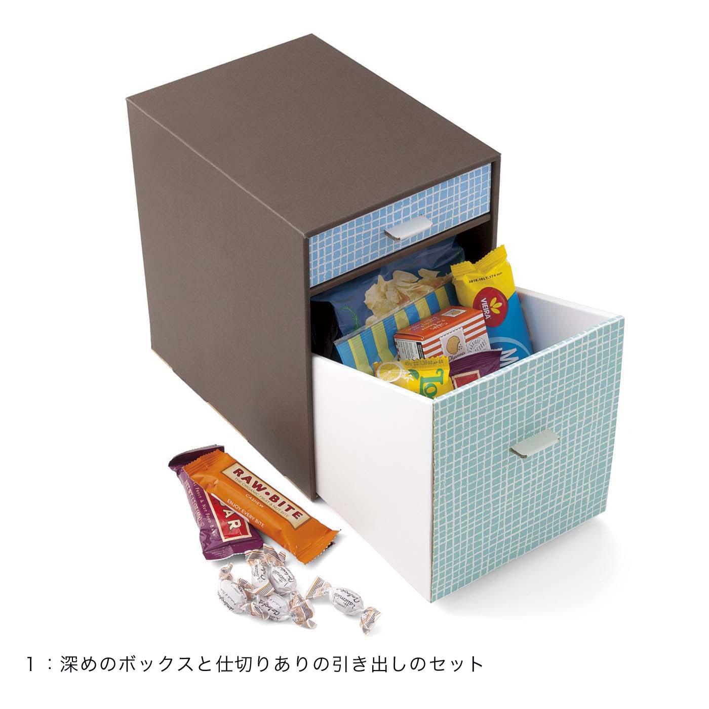 袋入りのお菓子などの収納に。深めボックスと仕切りのある引き出しのセット。