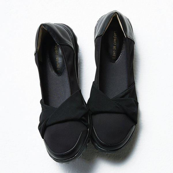 リブ イン コンフォート のびのび素材で たくさん歩いても私にフィット! スニーカー底の快適 パンプス〈ブラック〉