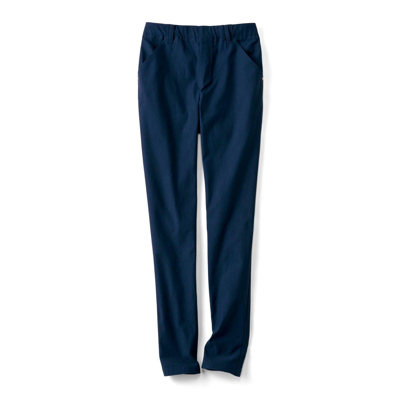 リブ イン コンフォート まるではいてないみたい!?  絶対美脚な スーパー伸び軽パンツ〈ネイビー〉