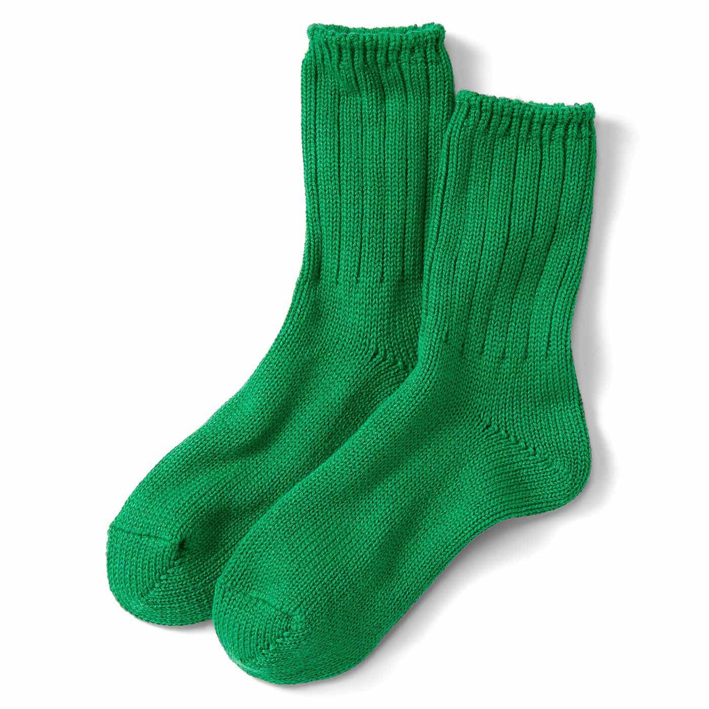 カラフルカラーのざっくりショート丈靴下〈グリーン〉