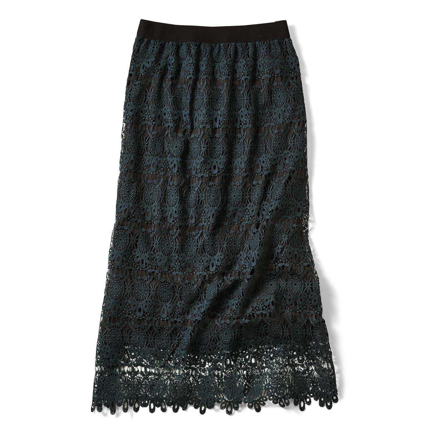 IEDIT 繊細レースで魅せるオトナしなやかレースのロングスカート〈ダークグリーン〉