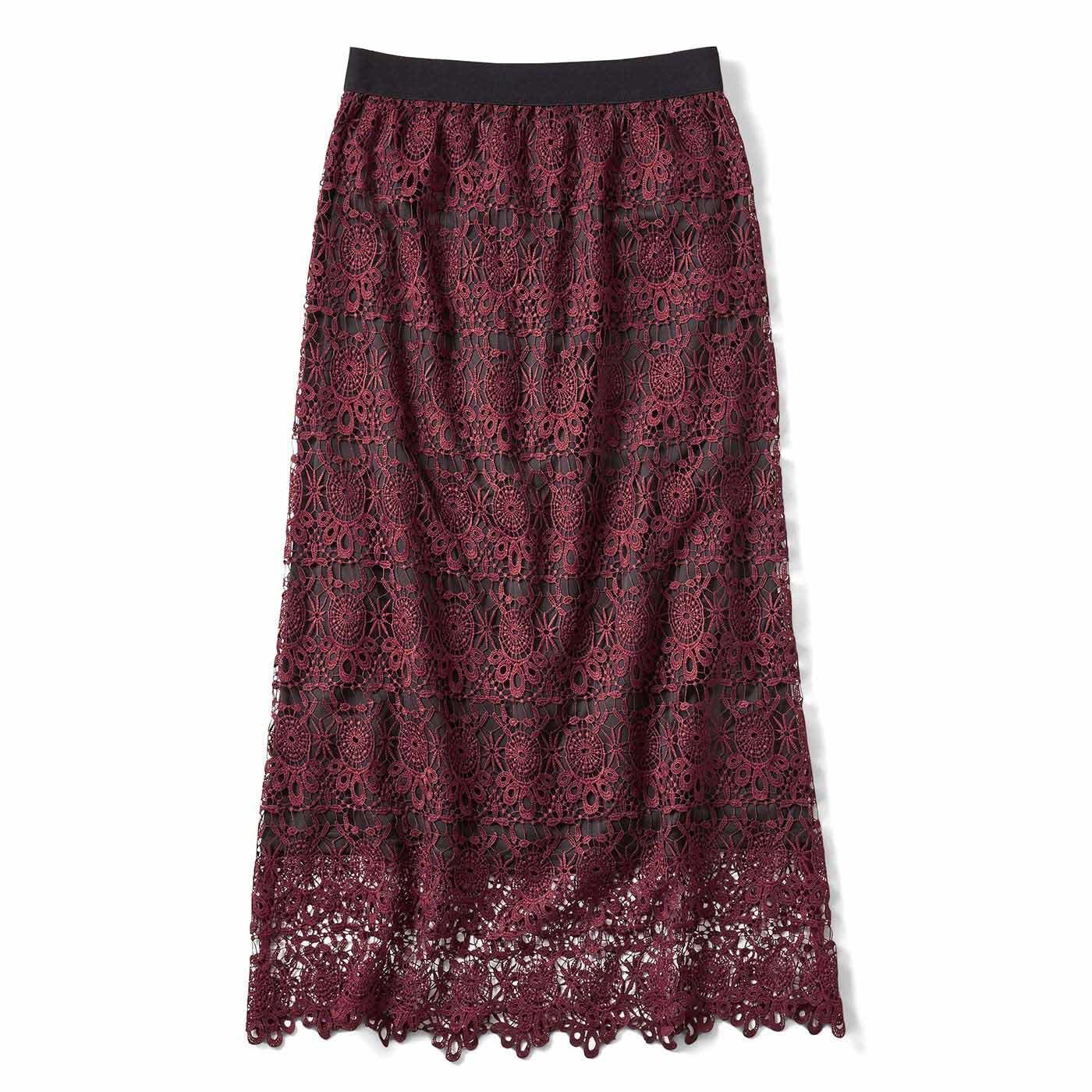 IEDIT 繊細レースで魅せるオトナしなやかレースのロングスカート〈ボルドーワイン〉