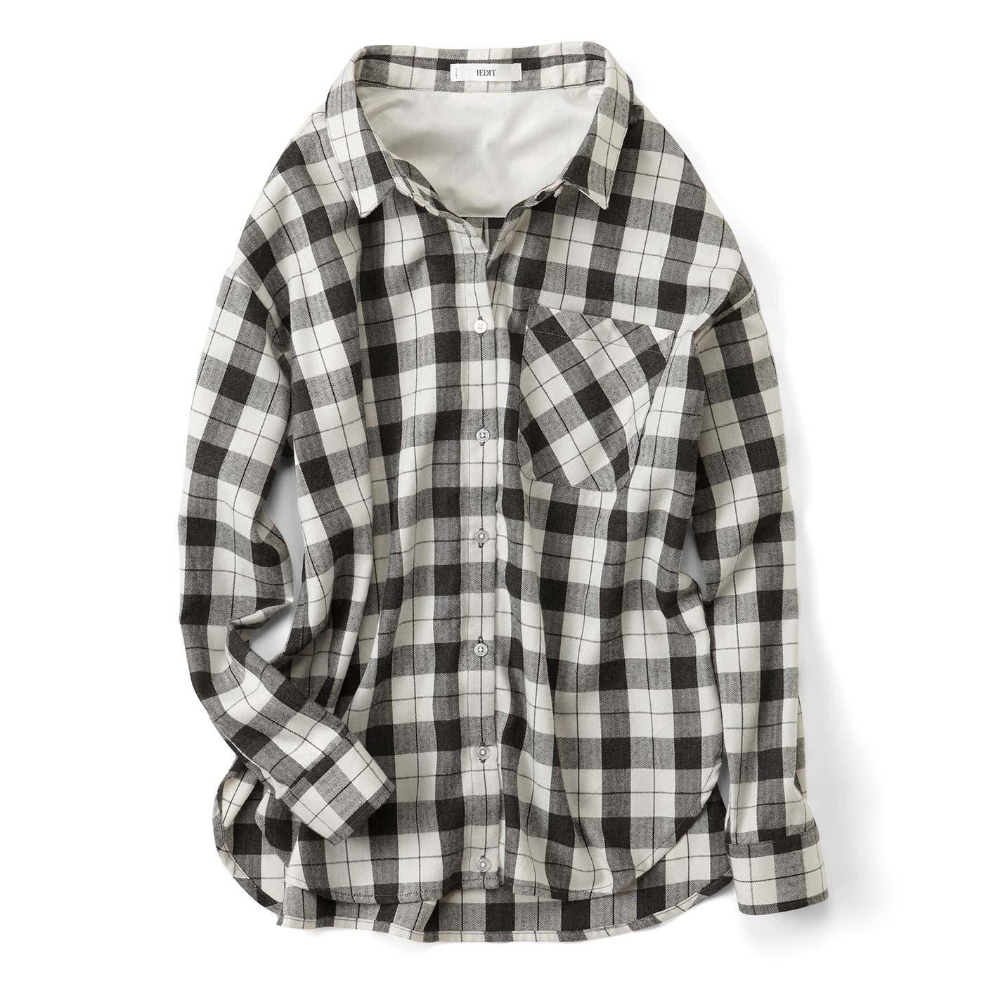 IEDIT やわらかな上品素材が大人に丁度いい たゆんとチェックシャツ〈アイボリー〉