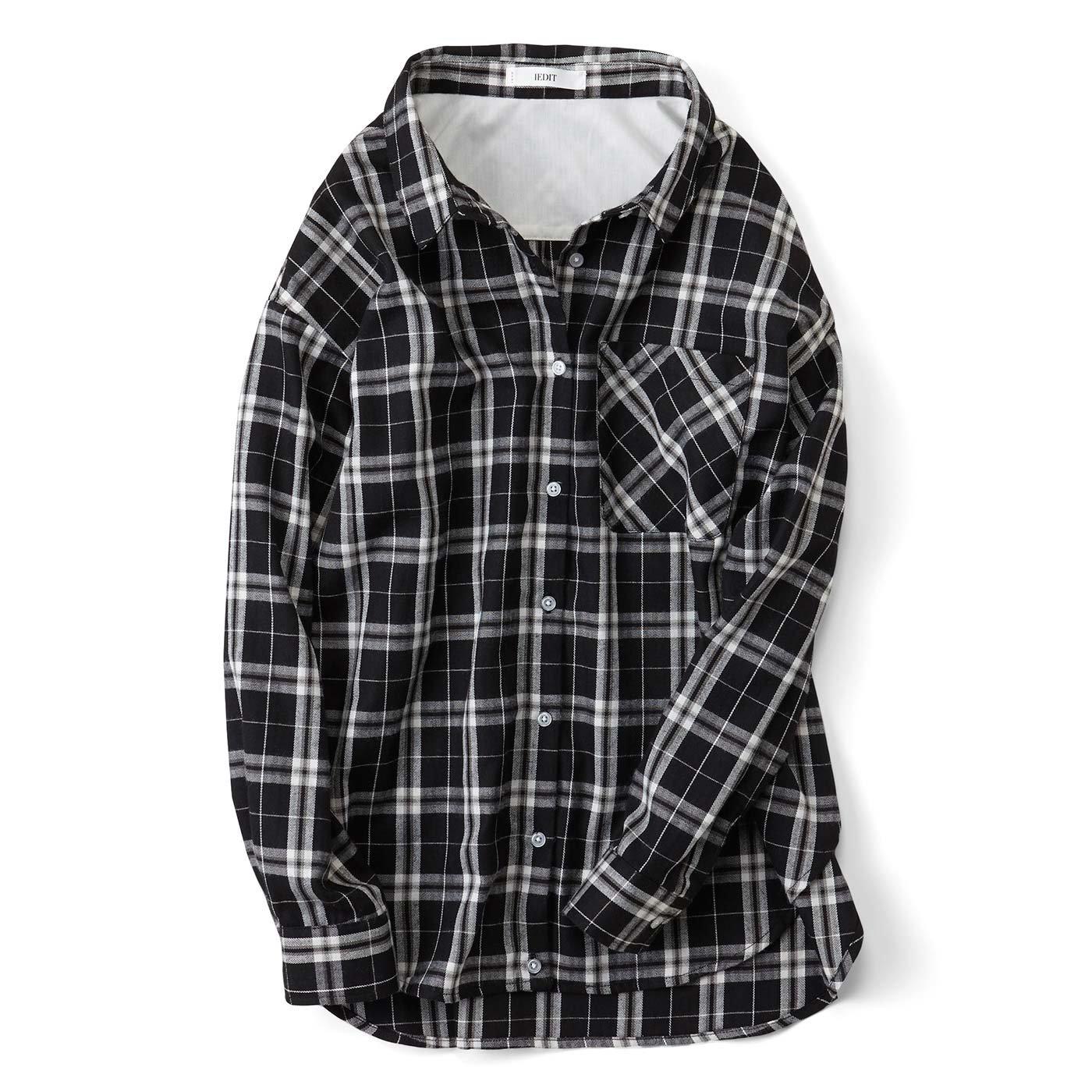 IEDIT やわらかな上品素材が大人に丁度いい たゆんとチェックシャツ〈ブラック〉