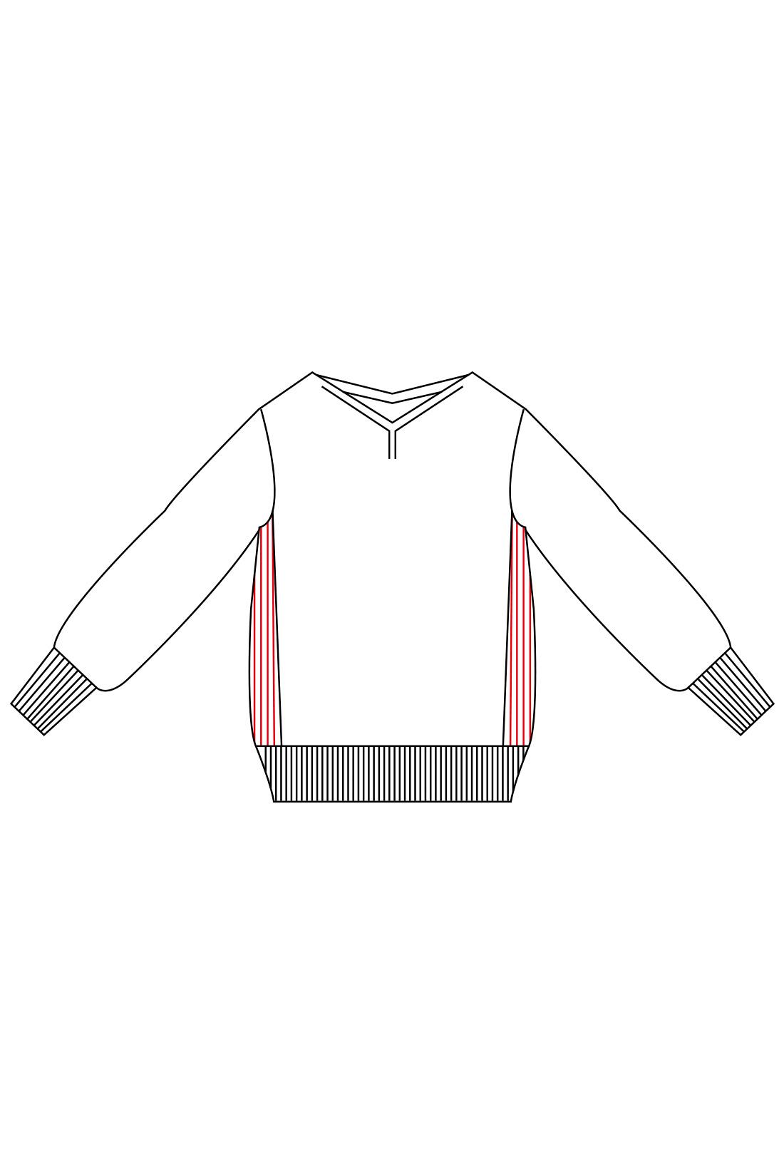 わきを縦リブ編みにすることで、細見え効果をアップ。