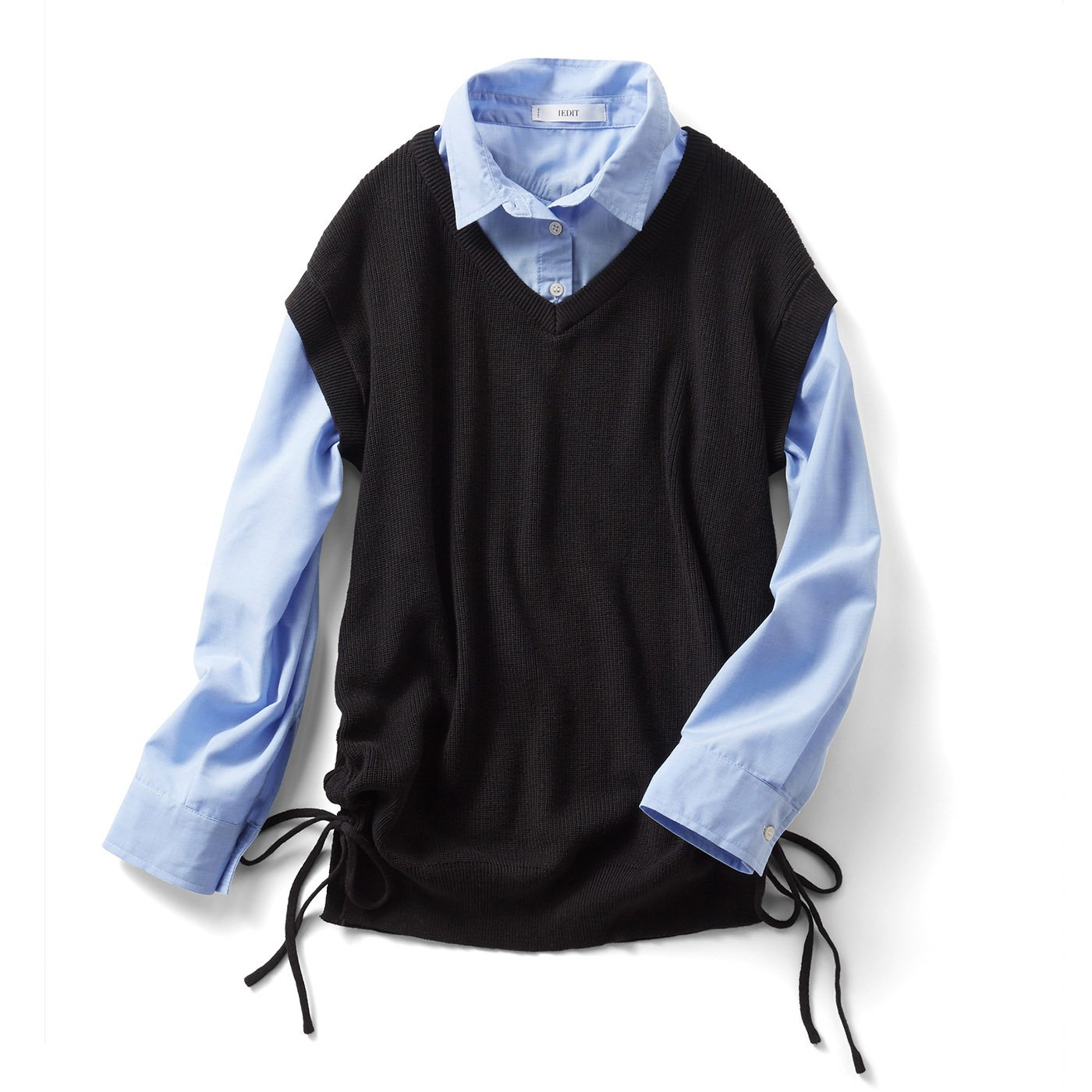IEDIT 一枚で時短コーデ! ニットベストとシャツのレイヤード風プルオーバー〈ブラック〉